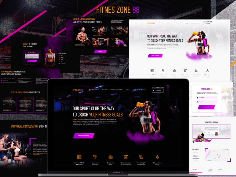 Landin page for Sport Club — Fitness Zone 88 ux ui web design
