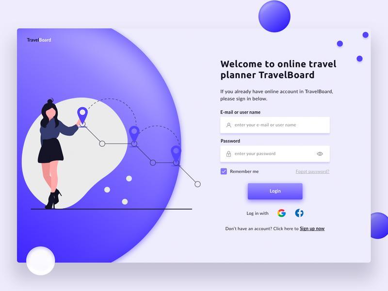 Login form concept for the travel planner web app TravelBoard website design web ux ui illustration