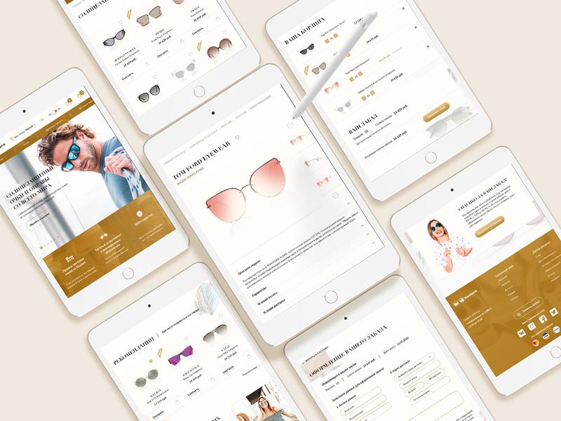 Tablet version of Sunglasses online store minimal website design typography ecommerce design ecommerce web ux ui