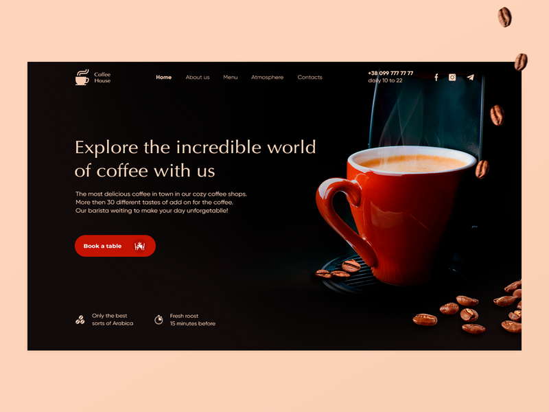 Landing page for Coffee Shop webdeisgn minimal typography website ui ux web design