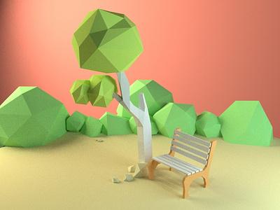 Park Bench lowpoly illustration design 3d illustration 3d illustrator 3d blender