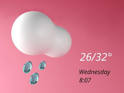 Weather Widget 01 3dillustration blender 3d deisgn weather widget