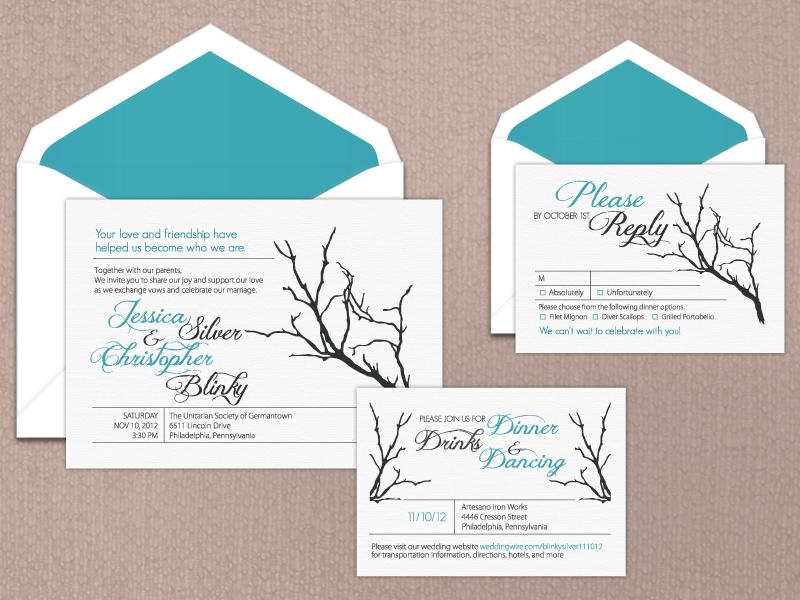 Christopher and Jessica's Wedding Suite wedding invitations wedding suite response card print design