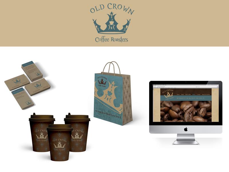 Old Crown Coffee Roaster Branding - Student Work logo website logo design brand identity business cards coffee cups shopping bag website design student work
