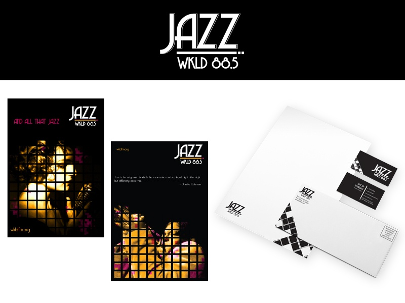 Jazz Radio Station Branding - Student Work logo stationery envelope letterhead logo design brand identity business cards outdoor advertising student work
