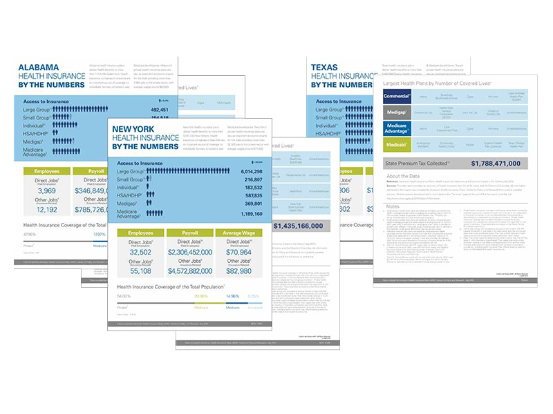 Health Insurance State-to-State print design graphic design report infographics