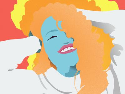 Flat design illustrations  for a hair beauty website 3/3 character design curls curly hair grain texture grainy flat design