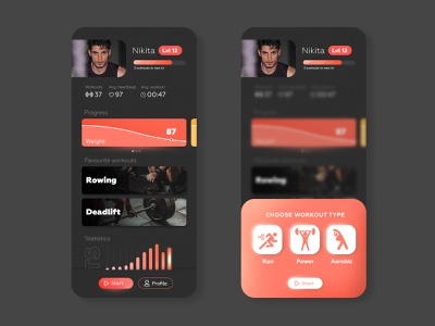 Profile page / Workout fitness workout app web ux ui design daily