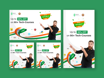 Facebook / Instagram Ads graphic design ux clean ui minimal logo design coding offer banner green india republic day branding ui vector illustration banner ads banner e learning google ads instagram ads facebook ad