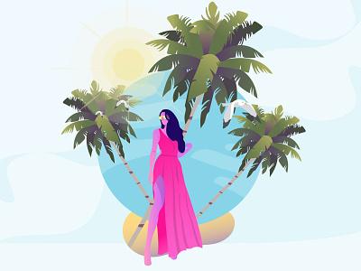 Summer Paradise style illustrations illustration vacations vacation fun weather beach sky coconut tree tree birds bird lady girl woman dress sunglasses sunny trees