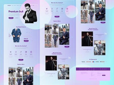 A Premium Suit Shop woman landing page design landing page web design dress branding man landingpage webdesign uiux ux ui premium trendy shop suits suit glassmorphism