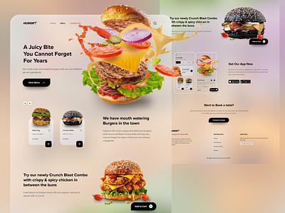 Burger Shop Landing Page web design food app design landingpage webdesign glassmorphism burger food trendy logo ui ux uiux