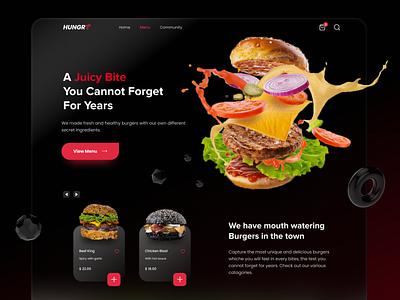 Burger Shop Dark Landing Page burger food glassmorphism web design webdesign logo branding trendy landingpage ux uiux ui