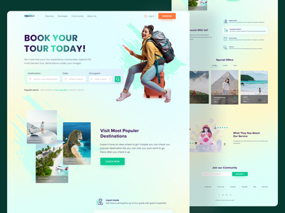 Travel Agency Landing Page traveling travel tourist tourism tour trendy design illustration logo web design webdesign landingpage uiux ux ui