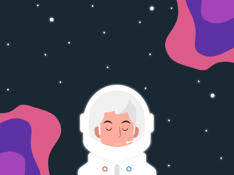 Beautiful Silent Space animation minimal vector illustration flat art design