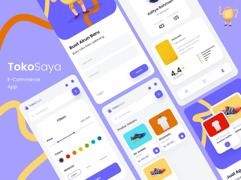 TokoSaya: E-Commerce App Design typography mobile app design mobile app mobile illustration art minimal flat app ux ui design