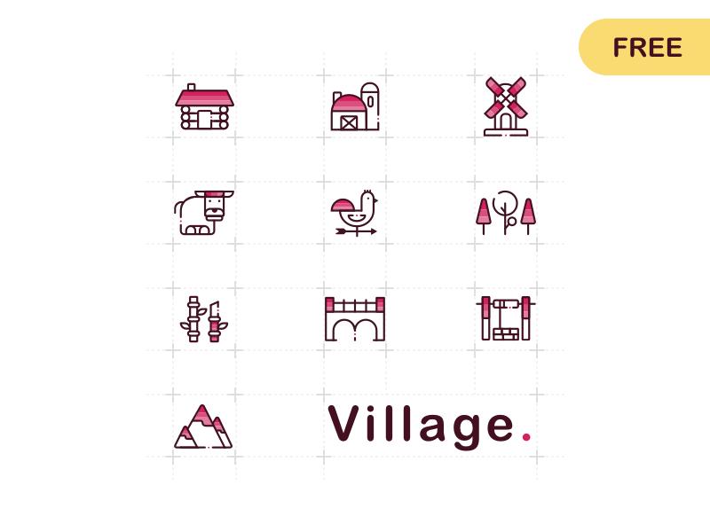 [FREE] Village Icons village icons icon freebies sketch free