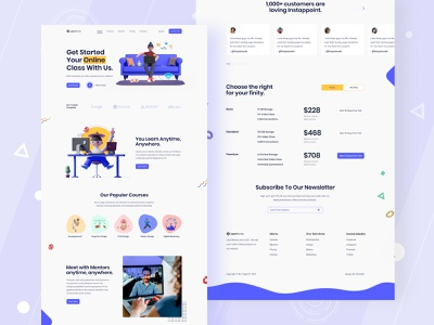 E-learning website design uiux design agency uidesign uigenix dribbble online learning platform e-learning online teaching online learning online course education landing page e learning elearning website ux ui ui design