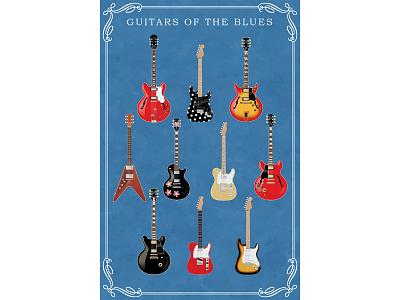 Guitars of the Blues technical illustration poster music guitar adobe photoshop adobe illustrator