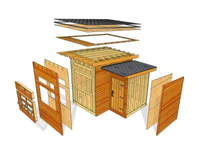 Shed Exploded exploded technical illustration sketchup shed architecture adobe photoshop