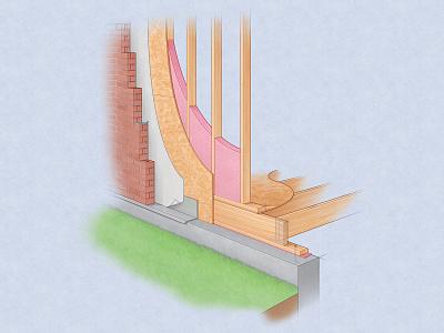 Residential Wall Construction cutaway technical illustration construction wood framing adobe photoshop adobe illustrator