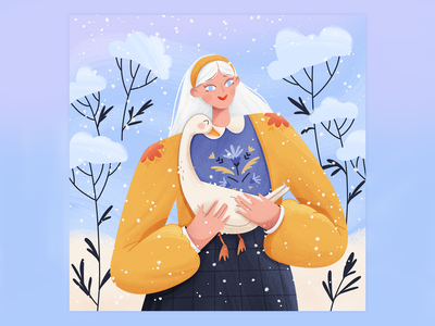 A girl with a goose dtiys friend blue snow woman illustration character goose winter girl