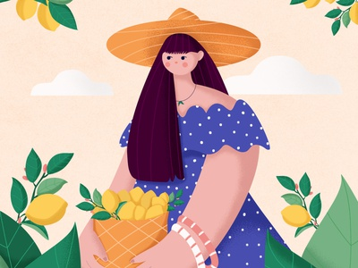 In love with lemon 🍋💛🧡 love photoshop stylized flat hat plantlover plant nature girl summer yellow lemon