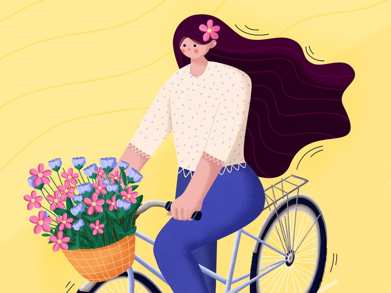 Beautiful day ☀️🌺🚲 stylized hair character design vector design photoshop illustrator good day happy summer girl flat character flowers bicycle illustration
