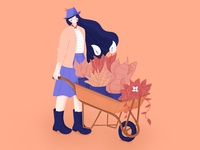 Country Style💚💛 plants farmer nature love stylized hair character design photoshop flat girl illustrator illustration