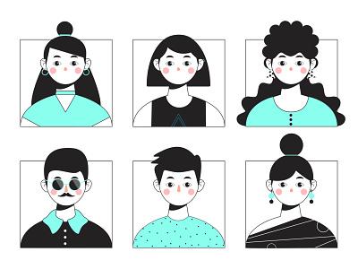 Avatars set character design stylized people vector design set avatars characters character flat illustrator