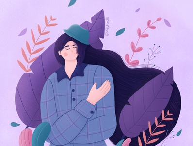 Autumn procreate art procreate purple autumn plants hair character stylized flat character design girl illustration