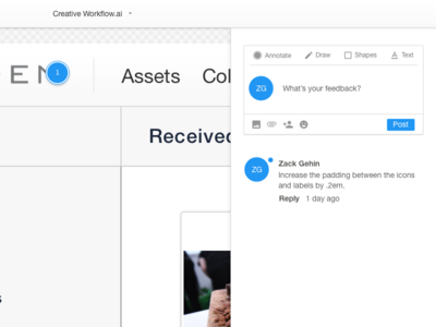 Creative Collaboration App - Annotations and Activity UI