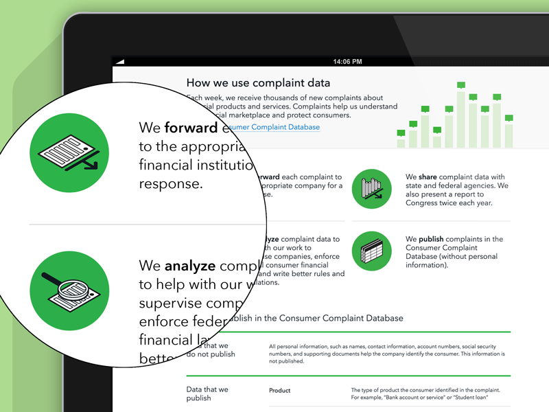 CFPB - How we use complaint data cfpb illustration icons data documents government consumers chart