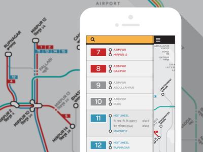 Digital Bus Map of Dhaka map transit drawer bus system transportation app mobile dhaka bangladesh public transit urban launchpad