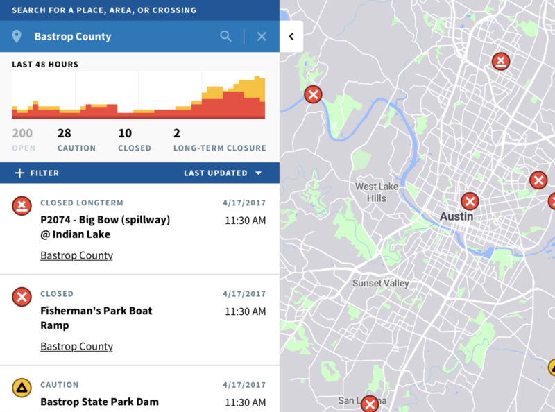 Flood Crossing Closure app for City of Austin city data mapping
