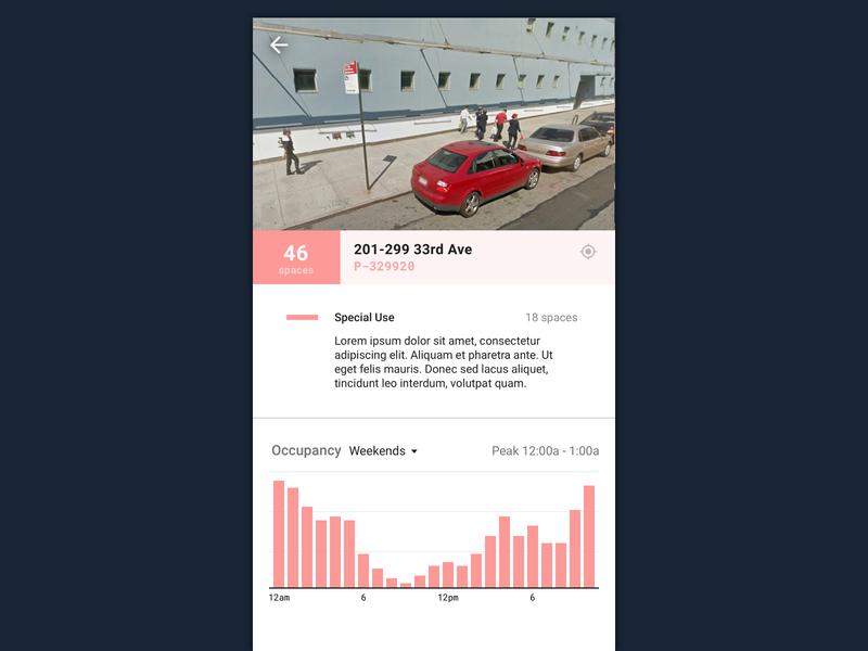 Parking regulation usage detail panel city data ui