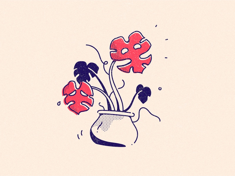 Lively Monstera emotions branding art leaves dotted red plant sad smile happy theatre monstera plants drawing illustration