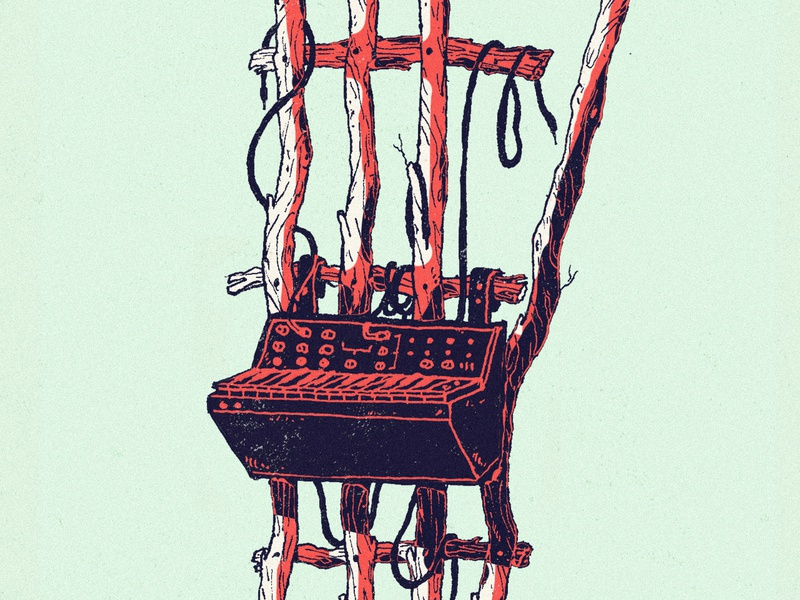 Plugs pen and ink green mint red synthesizer cables wooden wood sketch pen plants mystic art drawing illustration