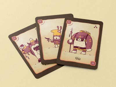 Mountain Clan for a boardgame purple ritual yeti lama bear creatures card deck deck cards card game cardgame games stone clan board game boardgame mystic art drawing illustration