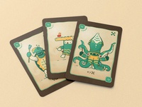 Ocean Clan for a boardgame mystic game design drawing deck cards card game card deck turtle crocodile ritual octopus squid sea creature creatures ocean game board game boardgame art