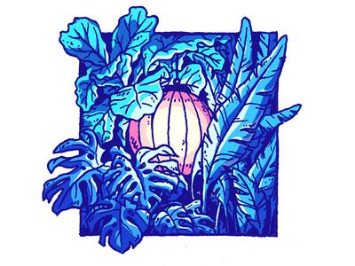 Flora Lucerna monstera blue illustration sketch drawing light lamp plant plants lucerna flora