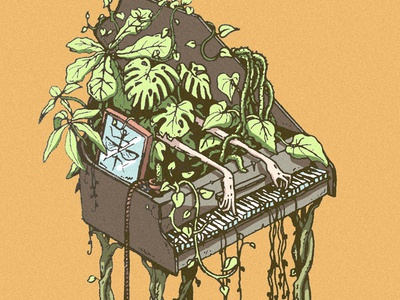 Broei relax classical roots monstera green orange hands mysterious mystic music sketchbook sketch art illustration drawing jungle plants jazz piano