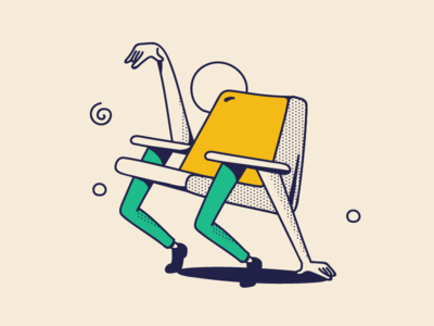 Happy chair happy drawing line shadow retro dotted arms hands legs party event branding art illustration breakdance living room room chair furniture dance