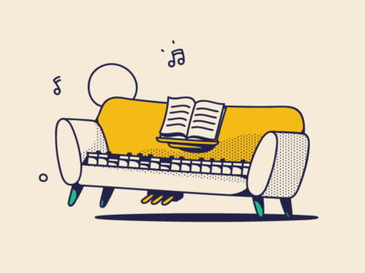 Comfortable keys dotted jazz funky sofa seat couch illustrator design color interior dancing dance piano yellow happy drawing retro music branding illustration