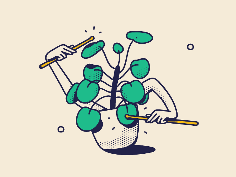Pilea Rock rock leaves branding line art dotted drawing event festival beat green arms pilea peperomioides chinese money plant play drums music plants illustration pilea plant