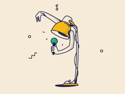 Shine bright event branding retro yellow line art beatboxing gangster rapper hiphop microphone singing furniture lamp festival art arms music dotted illustration drawing
