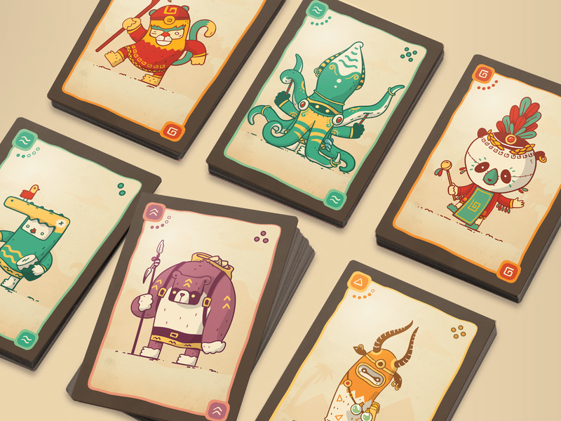 Board game clans towers game design game art board game warriors drawing illustration jungle tribal fight tribes animals clans creatures card deck cards play game boardgame