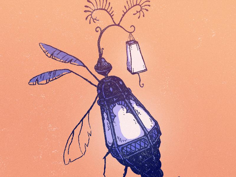 Lumine bug event sketch creature purple plant light festival orange mystic lamp branding art drawing illustration