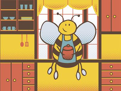 Zee's Bees Label Illustration honey illustration bees label
