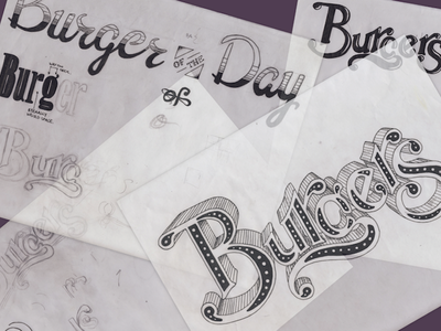 Process Sketches lettering burgers